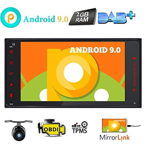 Android 9.0 Auto-Stereo-Touchscreen, 2 Din für Toyota RAV4 Camry Corolla 4Runner Hilux Tundra Celica Auris im Armaturenbrett, GPS-Navigationskarte AM/FM Radio, Bluetooth USB SD 3G DVR + Rückfahrkamera