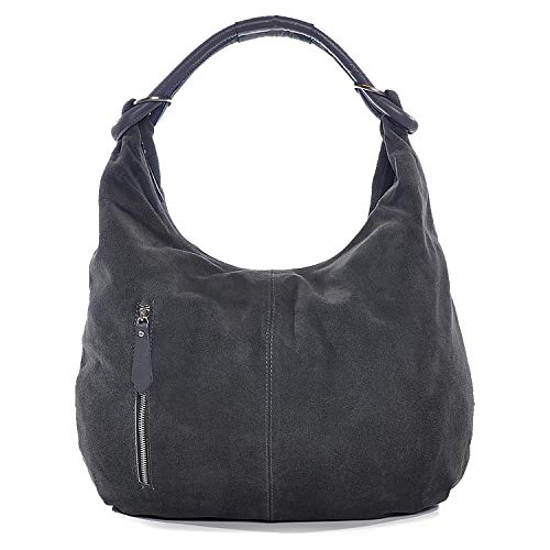 Damen Schultertasche Leder, Hobo-Bag, Leder Handtasche Damen, CNTMP, Beuteltasche Wildleder, Leder-Tasche DIN-A4, 44x36x4cm (B x H x T), Farbe:Grau (Anthrazit)