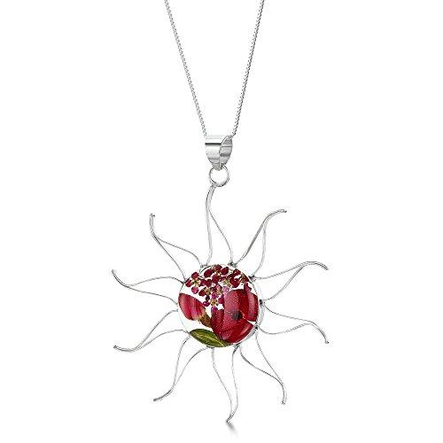 Shrieking Violet: Kettenanhänger - Mohn & Rose - Sonne - 925 Sterling Silber - 45 cm Kette (Harz Blume Ringe)