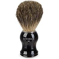 LUUK & KLAAS blaireau de rasage 100% poils de blaireau véritables et purs avec poignée en imitation ébène de haute qualité et une garantie satisfaction de 2 ans | blaireau, accessoire de rasage