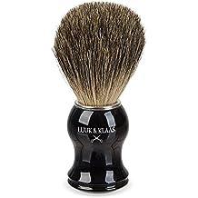 LUUK & KLAAS Brocha de afeitar de pelo de tejón de 100% auténtico pelo de tejón con mango de óptica de madera de alta calidad y 2 años de garantía de satisfacción – Pincel de espuma de afeitado / accesorio para afeitado