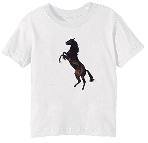 Cheval Enfants Unisexe Garçon Filles T-shirt Cou D'équipage Blanc Manches Courtes Taille L Kids Unisex Boys Girls White Large Size L