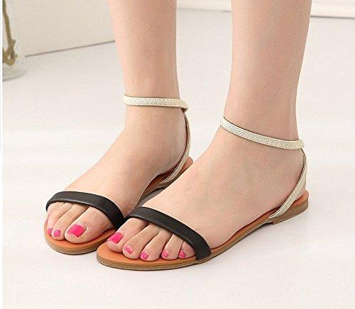 XY&GKWomen's Women's Schuhe flache Komfort Sommer Sandalen einfache Linie blanke Toe Sandalen 36 black
