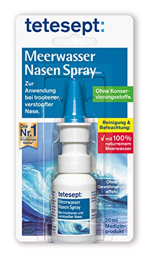 Tetesept Meerwasser Nasen Spray - Nasenspray bei Erkältung - Reinigung der verstopften Nase & natürliche Befeuchtung trockener Nasenschleimhäute - 1 x 20 ml