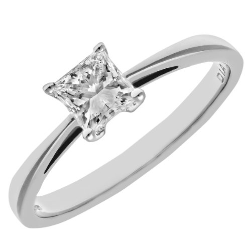 Naava Women's Platinum J/I Certified Princess Cut 0.50 ct Solitaire Engagement Ring, Size O