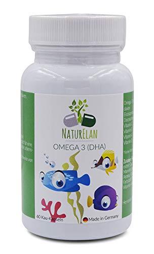Fisch-Öl Plus Vitamin (Omega-3 Kinder plus Vitamin A, Vitamin C, Vitamin D und Vitamin E für Kinder, NaturElan, 60 kleine Kau-Kapseln mit Johannisbeergeschmack, ultra-reine Omega-3 Fettsäuren (EPAX©), zertifiziertes Fischöl)