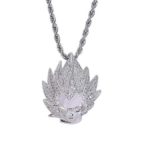 Hip Hop Halskette Super Saiyan Goku Anhänger eingelegt mit Zirkon, 3.5 cm * 2.8 cm, geeignet für Männer und Frauen, Geburtstagsgeschenk,Silver