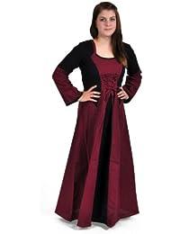 Robe médiévale Elena noire et bordeaux