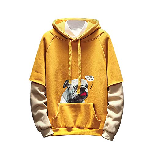 KPILP Männer Übergröße Mode Winter langärmelige Print mit Kapuze gefälschte Zweiteilige Pullover Tops Bluse Hemd(Gelb, M)