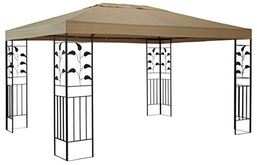QUICK STAR Garten Blätter Pavillon 3x4m Sand Partyzelt Metall Carport