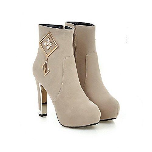 VogueZone009 Donna Punta Tonda Tacco Alto Bassa Altezza Puro Stivali con Metallo Beige