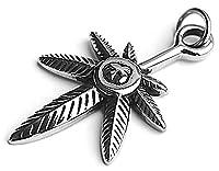 Epinki Stainless Steel Pendant Necklace, Mens Vintage Punk Rock Silver Black Leaf Maple Leaf Necklace