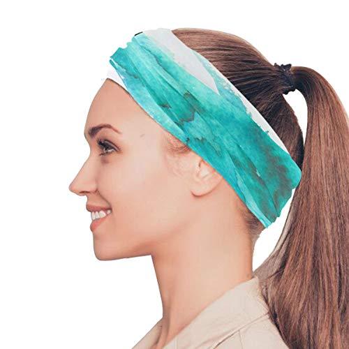 Rtosd Blau Türkis Farbe Kunst Aquarell elastische Stirnbänder Kopf Wickeln Schal Sport Schweißband Gesichtsmaske Magic Scarf Haarschmuck Bands Krawatten für Frauen Mädchen Laufen Fitness Yoga (Türkis Kopf Wickeln)