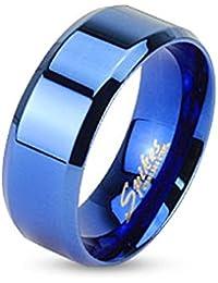 Taffstyle® Edelstahl Bandring Partnerring Ehe Paar Ring poliert für Damen Herren / Blau