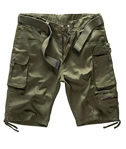 7 Pocket-cargo-shorts (Rock Creek Herren Cargo Shorts mit Gürtel Short Kurze Hose Herrenshorts Cargoshorts Sommer Hose Bermuda Hosen Outdoorshorts H-171 Dunkelgrün W38)