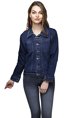 GANGA Women's Denim Jacket (DBLU8001 Blue L)