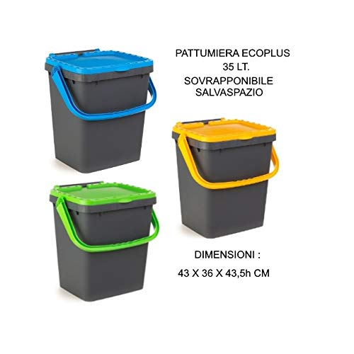 Ecoplus - Cubo de basura de 35 litros para recogida diferenciada verde