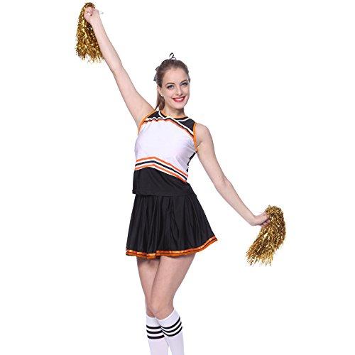 Schwarz Gr.S Cheerleader Kostuem Uniform Cheerleading Cheer Leader Pompon Minirock GOGO Damen Maedchen Karneval Fasching