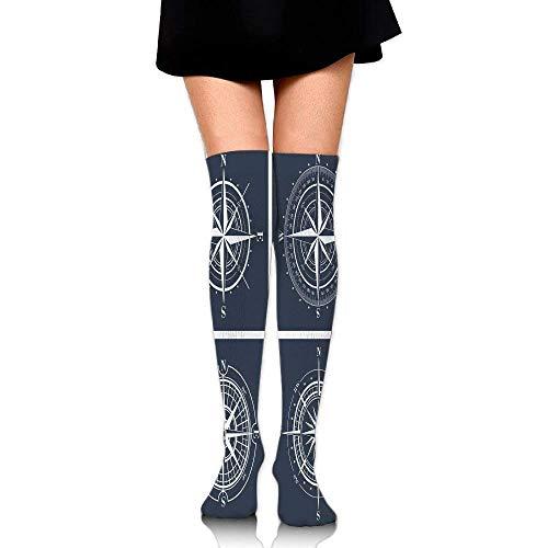 LiMiok Strümpfe,elegante Kniestrümpfe Damen Set Of White Compasses With Navy Blue Background Navigation Sailing Themed Women's Fashion Over The Knee High Socks (60cm)