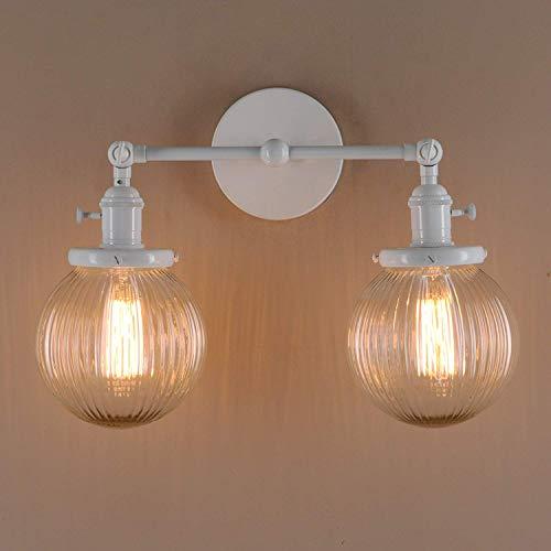 XFZ Moderne Wandleuchten für Vintage-Wandleuchten, Loft-Bar-Wandleuchte mit geripptem Globus Klarglas-Lichtschutz (Weiß) - Gerippte Ballon