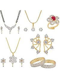 Manikya Combo Set Of One Ear Cuff, One Adjustable Finger Ring, One Mangalsutra With Matching Earing, Two Pendant...