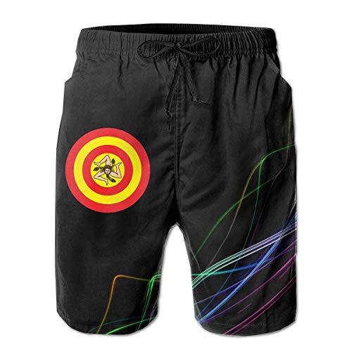 LarissaHi Sicily Sicilia Flag Captain Shield Herren-Boardshorts Badehose Beachwear Athletic Gym Beach Trunks 2XL