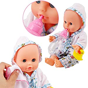 "deAO 13"" Bath Time Baby Doll Play Set with Working Shower Spray and Accessories for Kids"
