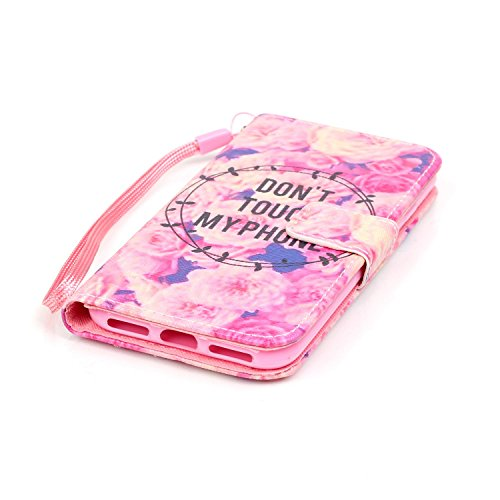 Hülle für iPhone 7, Tasche für iPhone 7, Case Cover für iPhone 7, ISAKEN Malerei Muster Folio PU Leder Flip Cover Brieftasche Geldbörse Wallet Case Ledertasche Handyhülle Tasche Case Schutzhülle Hülle Rose Pink