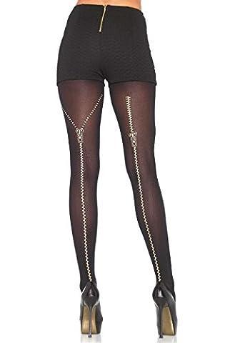 Leg Avenue Collants Opaque avec Motif de Fermeture Éclair à l'Arrière Noir Taille Unique