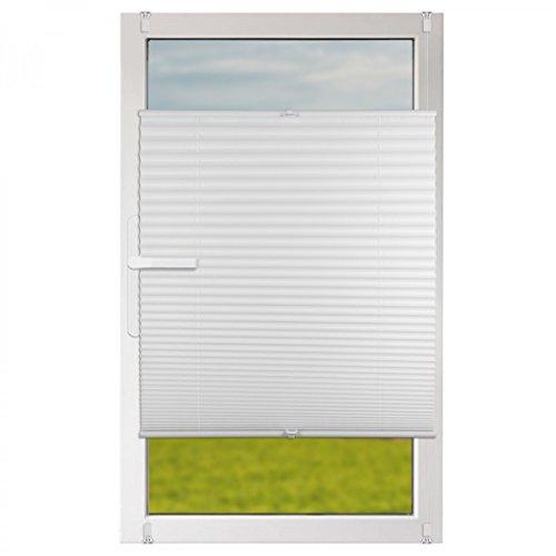 Klemmfix Plissee Jalousie mit Klemmträger :: Rollos für Fenster ohne bohren 130x130 cm weiß