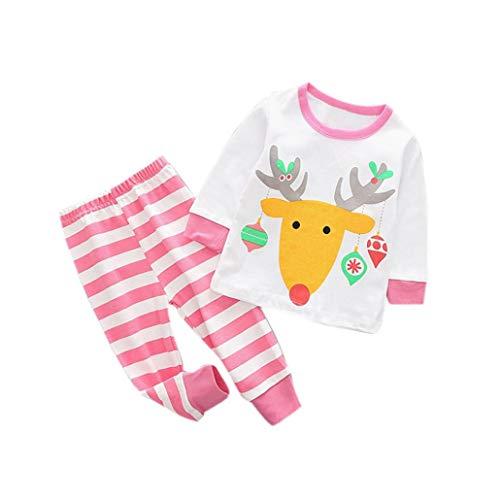 Winter Mädchenbekleidung Neugeborene Bekleidungssets Baumwolle Kleinkind Kind Baby Mädchen Jungen Weihnachten Outfits Kleidung Hirsch T-Shirt Tops + Pants Set Felicove (Jungen Mädchen Weihnachts-outfits)
