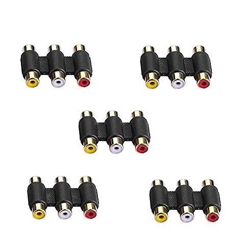 5Pcs 3 voies AV RCA menuisier / femelle audio vidéo coupleur connecteur femelle / adaptateur d'extension