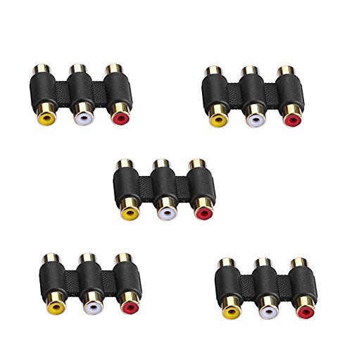 Sienoc 5 pcs Adapter AV Audio Video Verbinder 3RCA Cinch RCA Buchse Kupplung Chinch Female to Female F/F 3-RCA AV Cable Joiner Coupler Component Audio Video Adapter Rca Av Cable Joiner Coupler