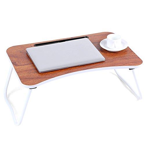 GOTOTOP Tragbarer Faltbarer Laptop-Tisch Schlafsofa Schreibtisch Frühstück Tablett Schreibtisch mit Schallwand, Holzfarbe, 59,3 * 39 cm
