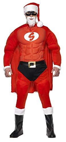 Smiffys, Herren Superfitter Weihnachtsmann Kostüm, Mütze, Augenmaske, Umhang, Muskel-Oberteil, Gürtel, Hose mit aufgenähtem Slip und Überschuhe, Größe: M, 36214