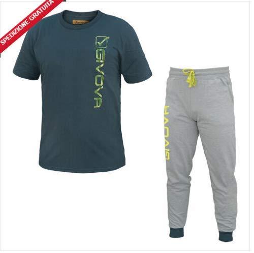 tuta uomo pantalone lungo mezza manica 100% cotone GIVOVA art. G503 (XL, navy/grigio)