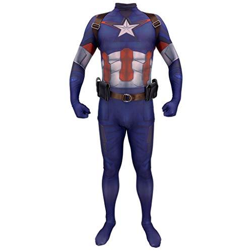 NDHSH Erwachsene Cosplay Kostüm Onesies Outfit Captain America Avengers Kind Kostüm Halloween Abschlussball Performance Festival Geschenk, Child-M (Childs Captain America Kostüm)