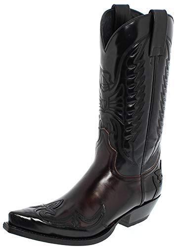 Sendra Boots Damen Herren Cowboy Stiefel 13170 Lederstiefel Schwarz Rot 37 EU