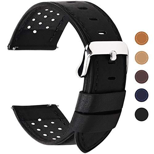 Fullmosa 6 Farben für Uhrenarmband mit Schnellverschluss, Breeze Serie Leder Ersatzband geeignet für Armbanduhr Herren&Damen,20mm Schwarz