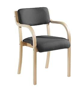 Blue Box PRA50001-C Chaise empilable avec accoudoirs Structure en bois Anthracite Hauteur 83cm Largeur 53cm