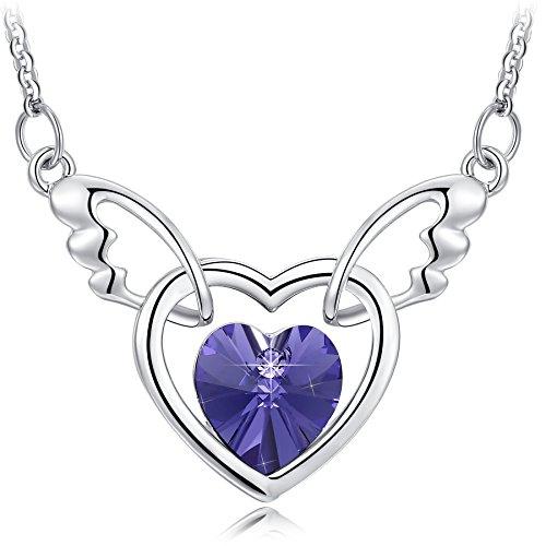 NEEMODA Kette Damen Anhänger Herz Kristall Lila Halskette Engel Flügel Schmuck geschenke für sie frauen Geburtstag jahrestag Valentinstag Weihnachten Muttertag