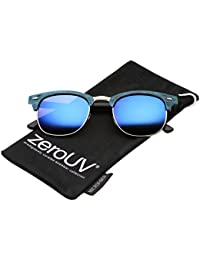 eb256d612a zeroUV - Modern Wood Textured Horn Rimmed Square Lens Half Frame Sunglasses  50mm (Blue-