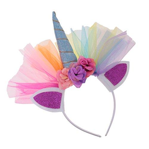 Gazechimp Tüll Blume Einhorn haarreif mit horn Ohr Stirnband erwachsenen Kinder fancy Kleid - (Kleid Für Kinder Lustiges)