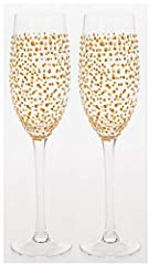 Idea Regalo - Sparkling Gold DOT design – Coppia di Flute da Champagne in vetro decorato a mano – ideale Golden/° matrimonio