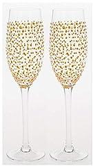 idea regalo sparkling gold dot design coppia di flute da champagne in vetro decorato