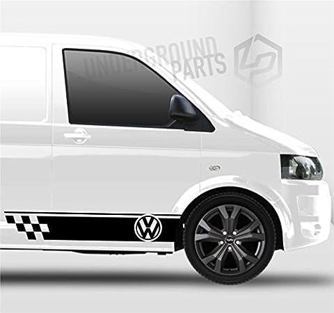 UNDERGROUND PARTS GR-VW-06B Caddy Van Side Stripes Chequered Flag Decal, Black
