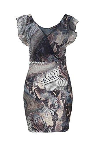 Melrose Damenkleid, Minikleid, Chiffon-Jerseykleid grau/bunt (38)