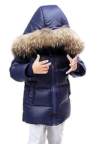 SMITHROAD Unisex Kinder Jungen Kinder Mädchen Daunenjacke Warm Winterjacke Übergangsmantel mit Echtpelz Kapuze Dunkelblau