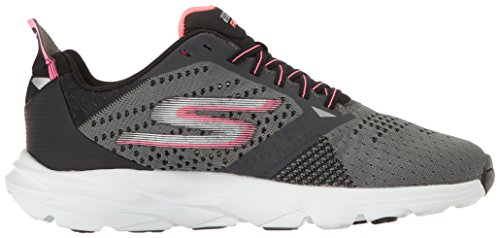 Skechers Go Run Ride 6, Chaussures de Running Femme Gris (Charcoal/hot Pink)