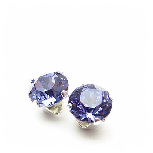 f6cb8e846df31 pewterhooter 925 Sterling Silver stud earrings expertly made with sparkling  Tanzanite crystal from SWAROVSKI® for Women